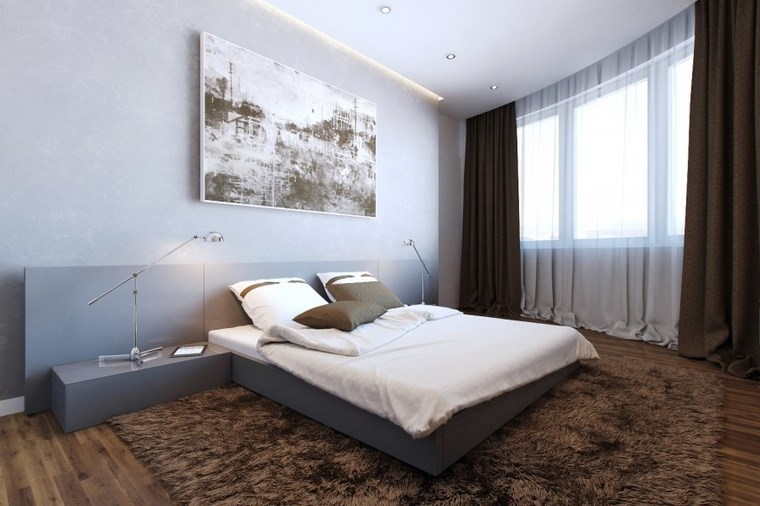 dormitorio moderno alfombra marron cuadro grande ideas