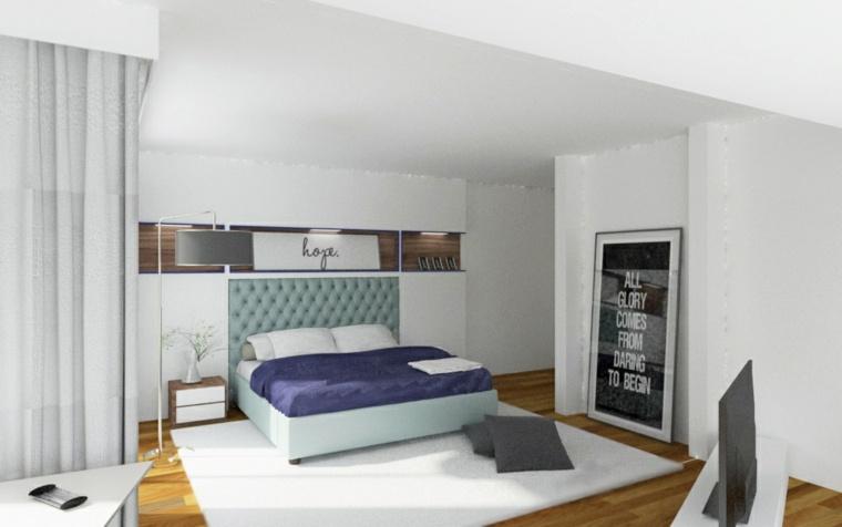 dormitorio moderno alfombra paredes blancas ideas