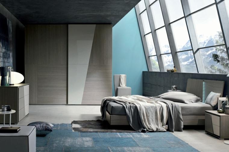 dormitorio moderno alfombra preciosa cama grande ideas