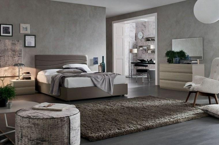 dormitorio moderno amplio cama madera sillon blanco ideas