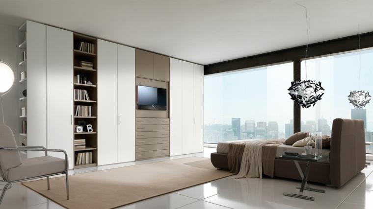 dormitorio moderno armario opciones libros tele ideas