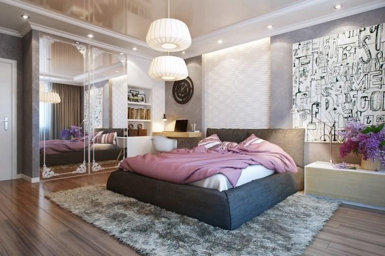 dormitorio moderno armario puertas espejo ideas