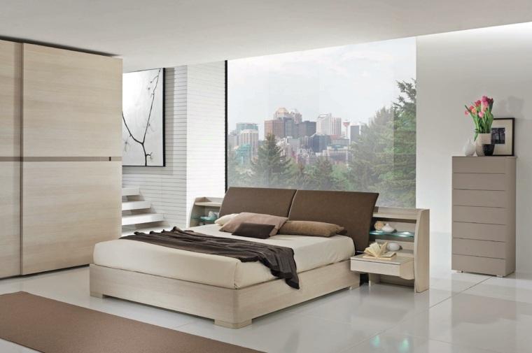 dormitorio moderno armarios madera diseno simple ideas