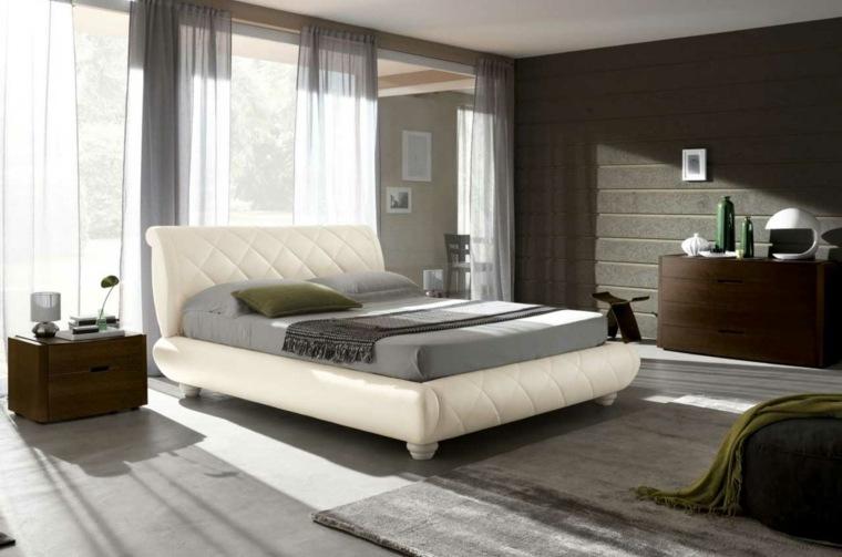dormitorio moderno cama cuero blanco muebles marrones ideas