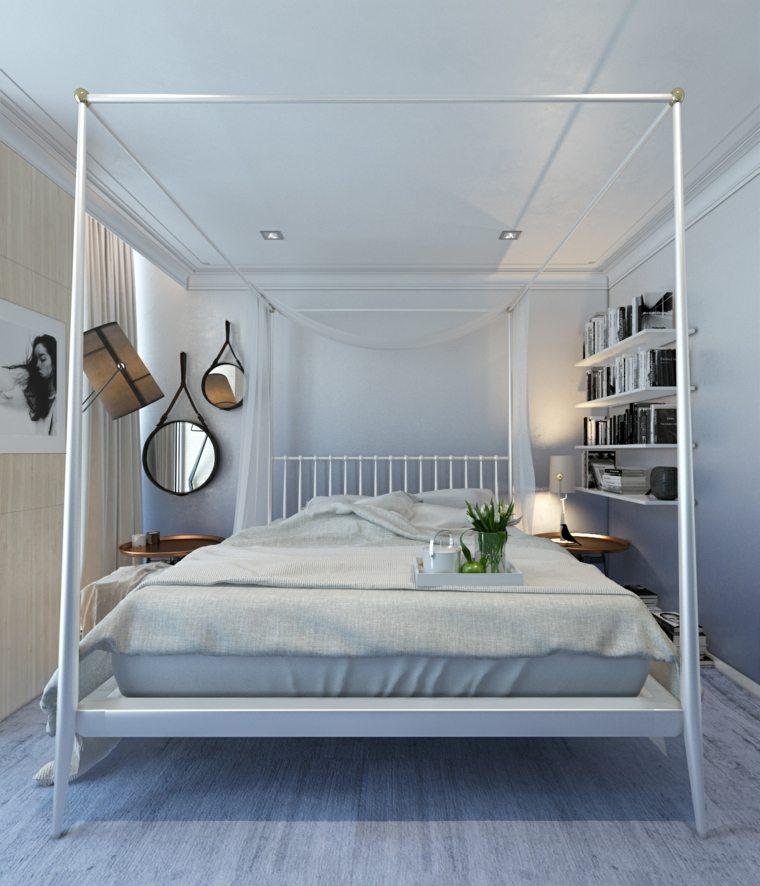 dormitorio moderno cama dosel espejos decorativos ideas