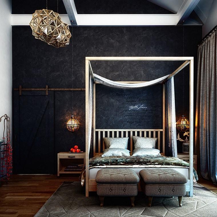 dormitorio moderno cama dosel pared negra ideas