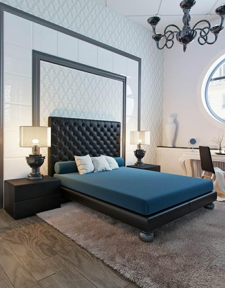dormitorio moderno cama mesitas negras ideas