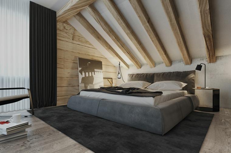 dormitorio moderno cama gris alfombra negra ideas