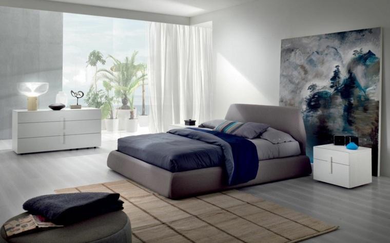 dormitorio moderno cuadro grande diseno interiores ideas