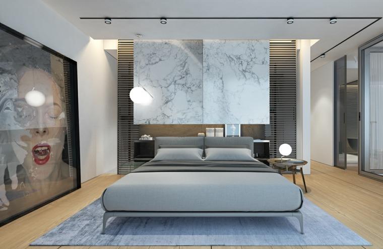 dormitorio moderno cuadro original alfombra gris ideas
