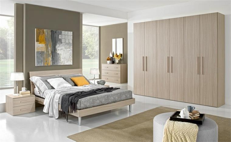 dormitorio moderno cuadro otomana blanca ideas