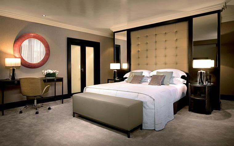 dormitorio moderno escritorio espejo elegante ideas