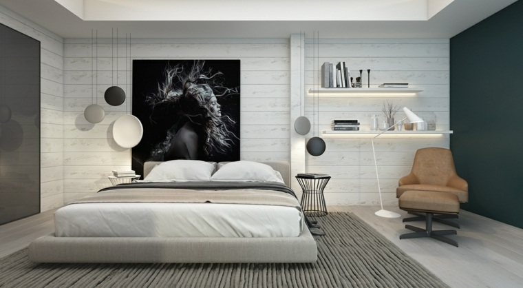 dormitorio moderno estantes pared lamparas cuadro ideas