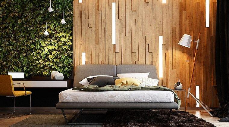 dormitorio moderno jardin vertical pared madera ideas