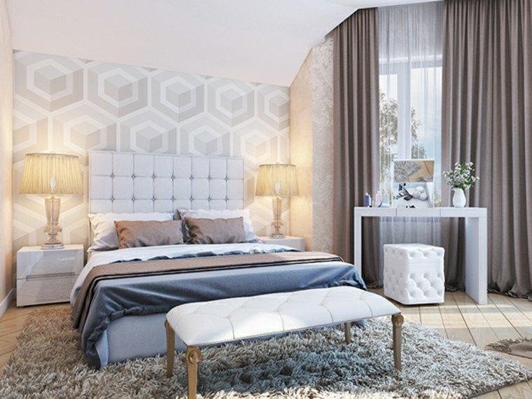 dormitorio moderno lamparas preciosas mesitas blancas ideas