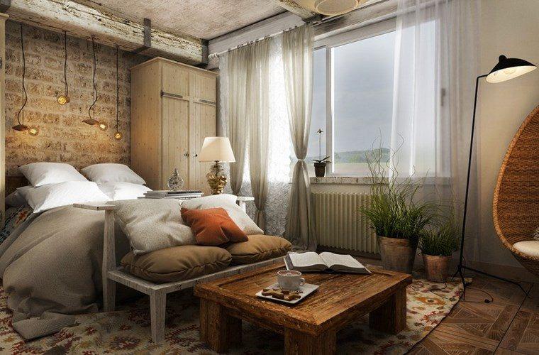 dormitorio moderno mesa madera opciones originales ideas