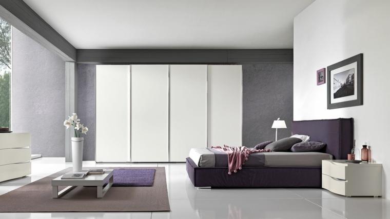 dormitorio moderno mesita cafe flores ideas