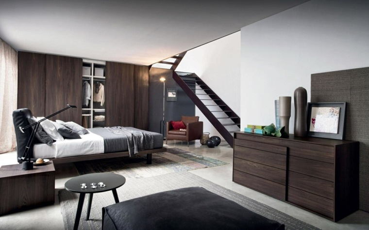dormitorio moderno muebles madera mesita negra ideas