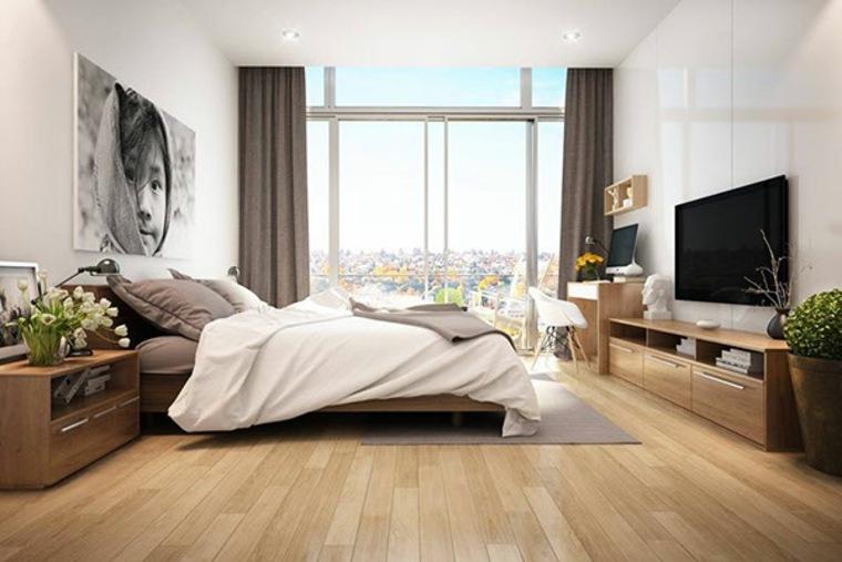 dormitorio moderno muebles madera plantas ideas