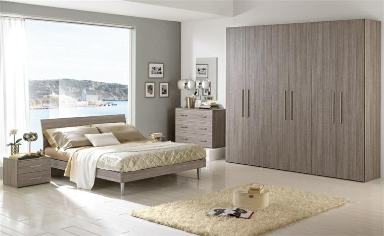 dormitorio moderno muebles madera ventana ideas