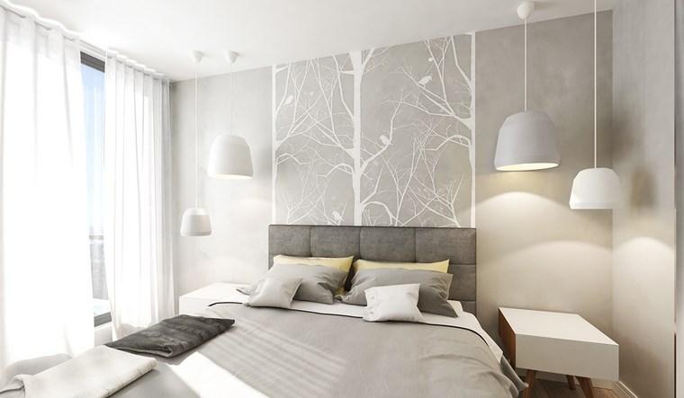 dormitorio moderno pared gris arbol ideas