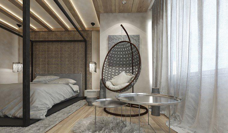 dormitorio moderno silla colgante mesas acero ideas