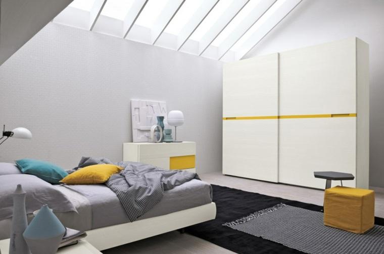 dormitorio moderno toques color amarillo alegrar habitacion ideas