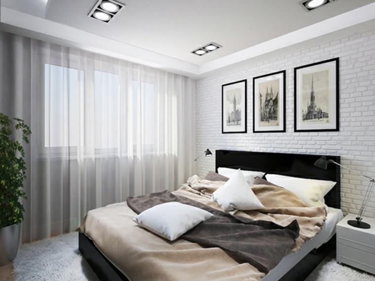 dormitorio moderno tres cuadros cortinas blancas ideas