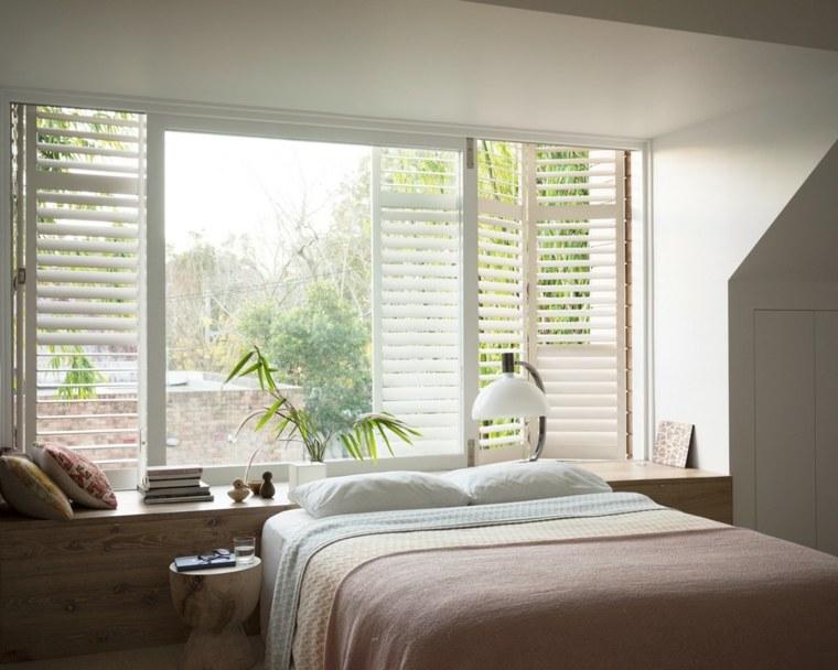 dormitorio moderno ventana estores blancos ideas