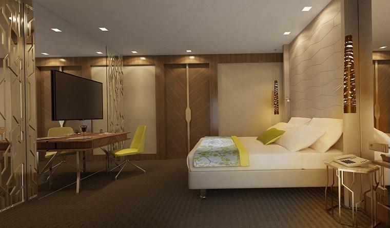 dormitorio televisor pared cristal diseno moderno ideas