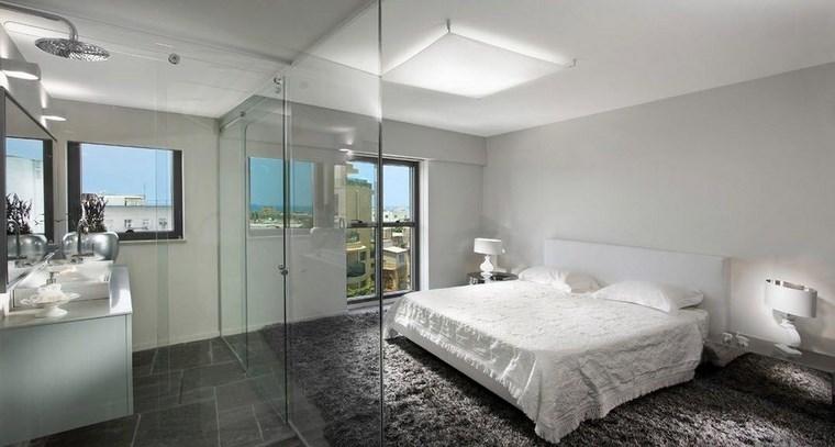 dormitorios con vestidor y baño alfombra negra ideas