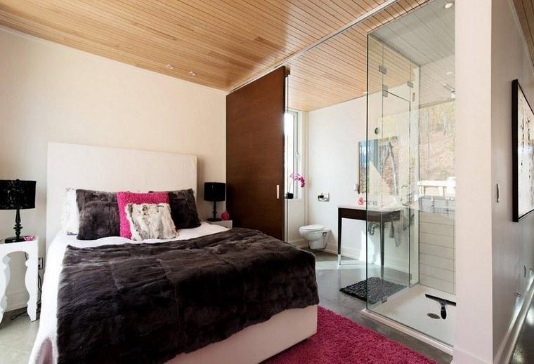 dormitorios con vestidor y baño alfombra rosa ideas