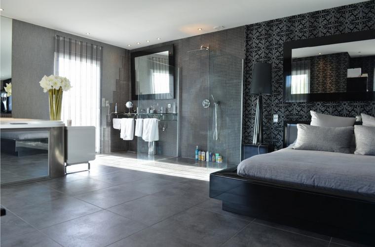 dormitorios con vestidor y baño amplio gris ideas