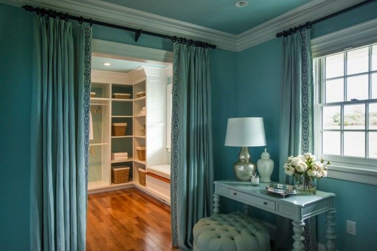 dormitorios con vestidor y baño azul elegante ideas