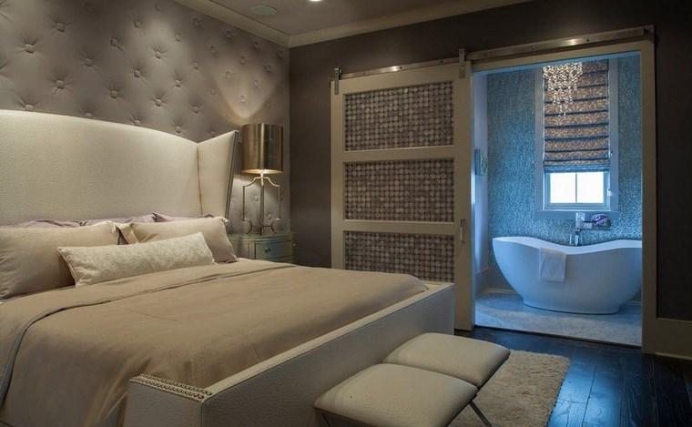 dormitorios con vestidor y baño color gris ideas