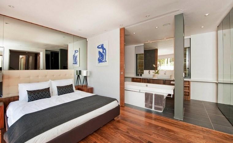 dormitorios con vestidor y baño espejo grande ideas