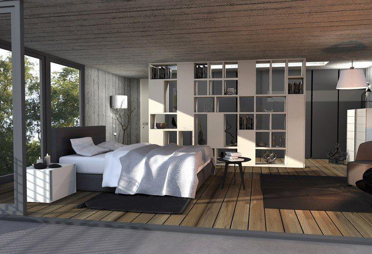 dormitorios con vestidor y baño estanterias blancas ideas