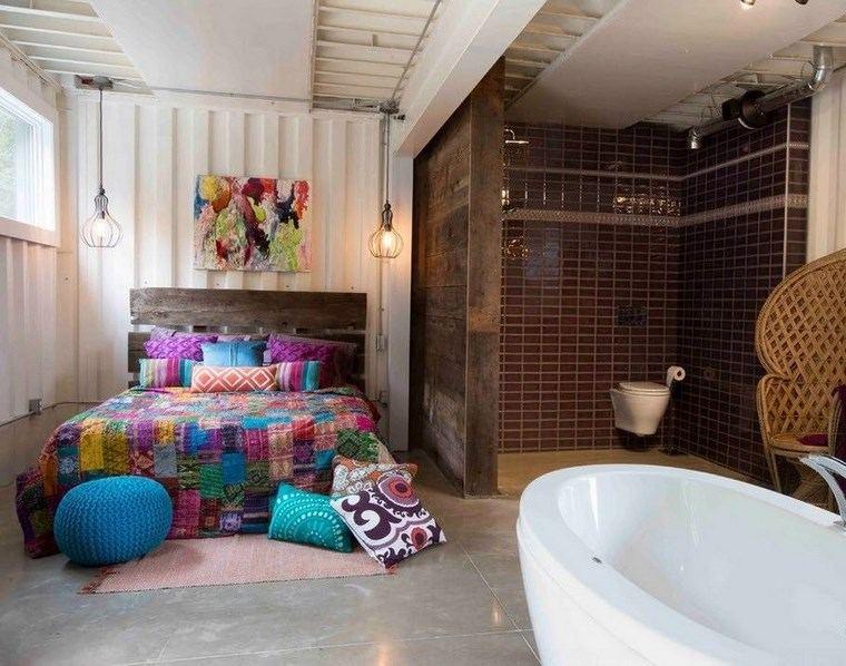 dormitorios vestidor bano ropa cama colorida ideas