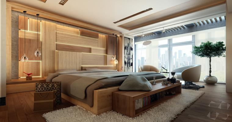 dormitorio moderno paneles madera