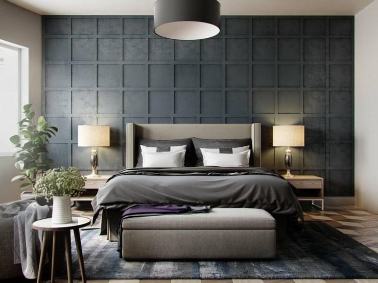 dormitorios decoracion moderna grises plantas
