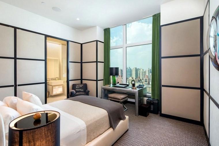 dormitorios vestidor bano escritorio cortinas verdes ideas