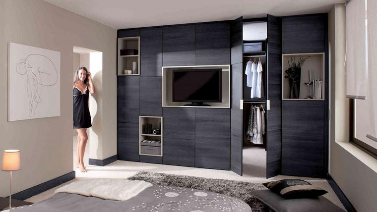 dormitorios vestidor bano madera negra ideas