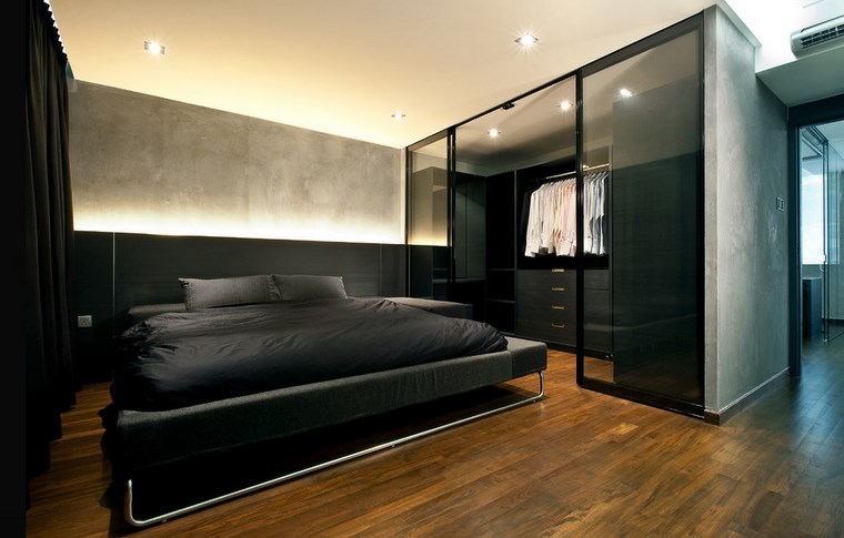 Baño Vestidor Moderno: iluminación LED vestidor bano moderno negro elegante ideas