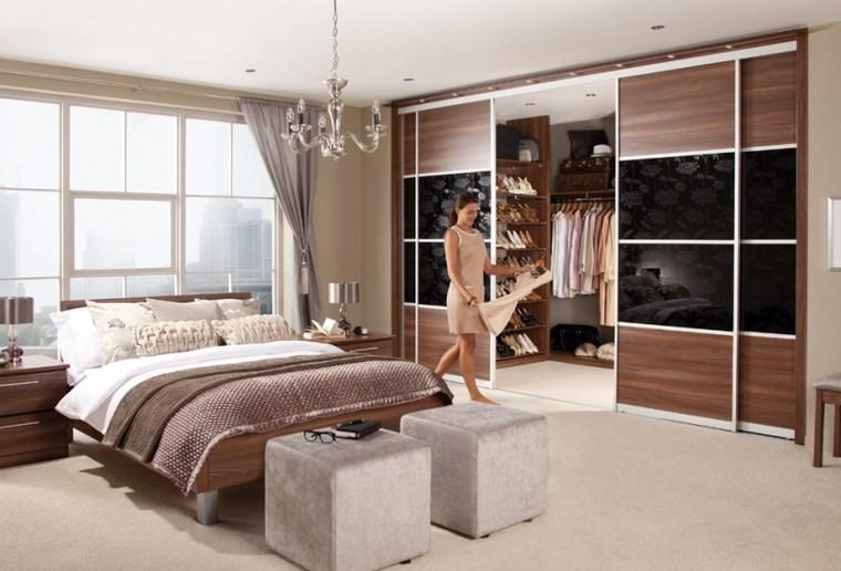 dormitorios vestidor bano taburetes puertas madera ideas