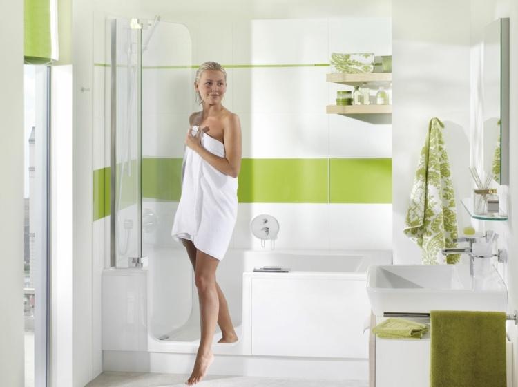 ducha banera puerta crista bano verde blanco ideas