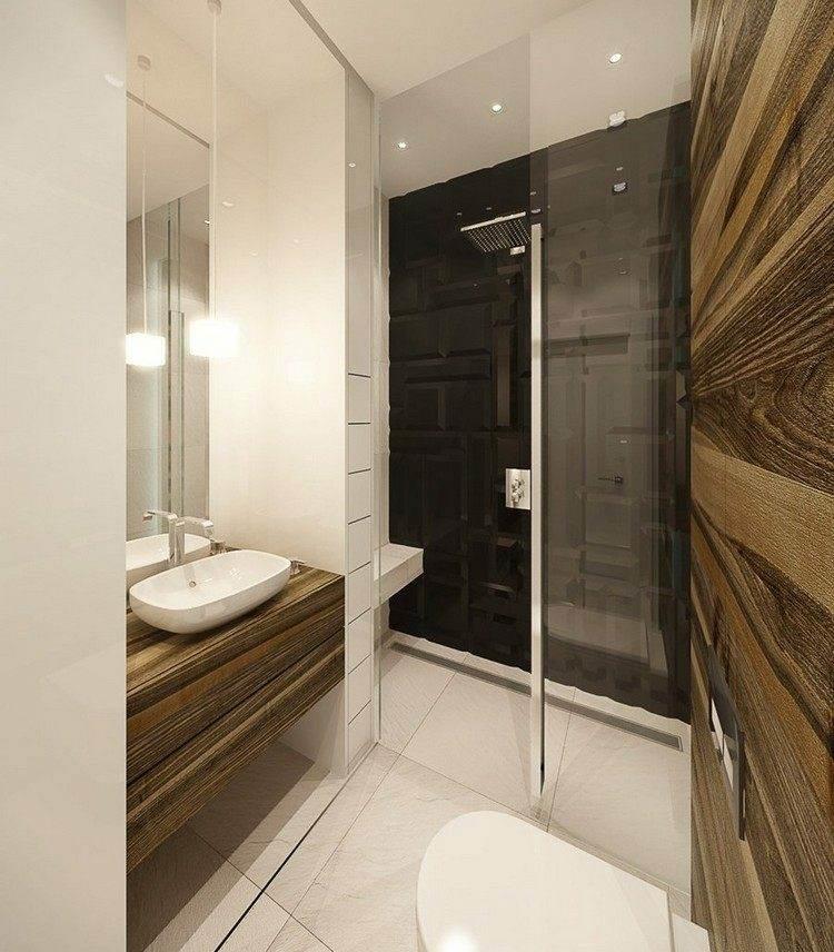 Baños Con Ducha Negra:duchas opciones banos pequenos losas negras ideas