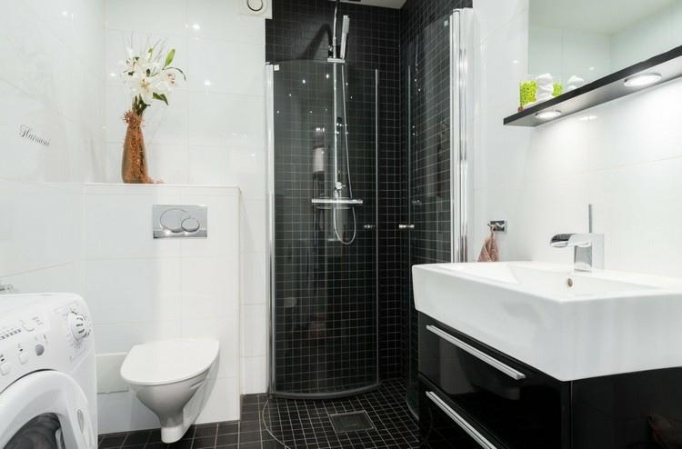 duchas opciones banos pequenos mosaico color negro ideas