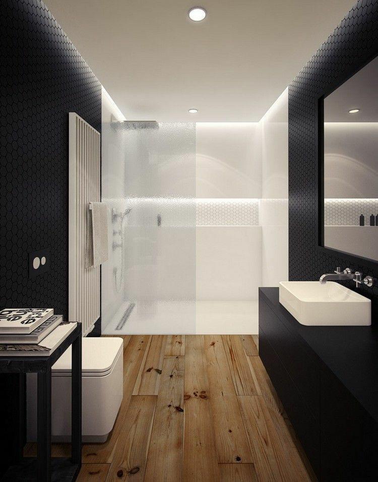 duchas opciones banos pequenos mosaico negro ideas