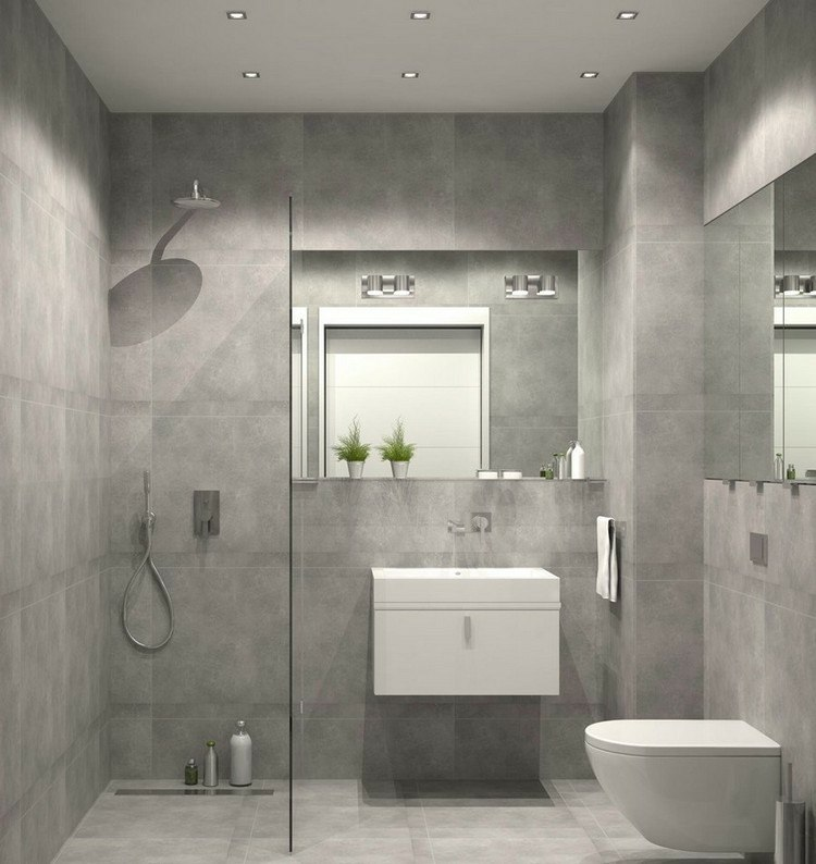 Baños Grises Modernos:duchas opciones banos pequenos paredes gris claro ideas