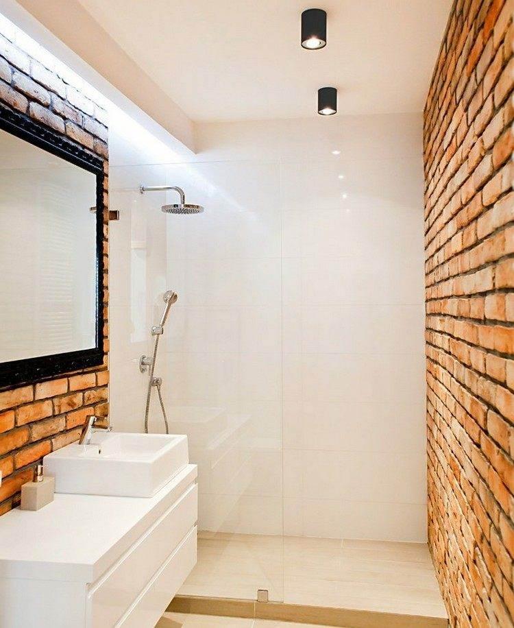 duchas opciones banos pequenos paredes ladrillo ideas